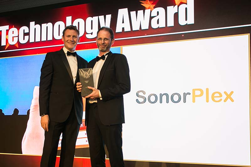 Liam Colvin, Manager, Codex presents the Technology Award to Niall O'Connor, SonorPlex.